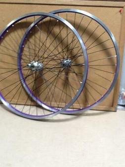 """26"""" PAIR FRONT AND REAR PURPLE BICYCLE ALUMINUM RIM BIKE PAR"""