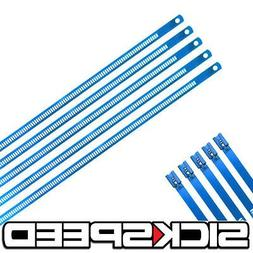 """5 Pc Blue 12"""" Stainless Steel Cable Zip Ties Long For Exhaus"""