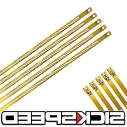 """5 Pc Gold 12"""" Stainless Steel Cable Zip Ties Long For Exhaus"""