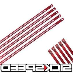 """5 Pc Red 12"""" Stainless Steel Cable Zip Ties For Exhaust Tail"""