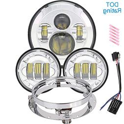 7 inch LED Headlight 4.5 Fog Passing Lights DOT Kit Set Ring