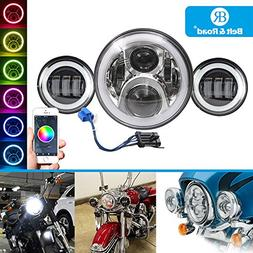 Belt&Road 7 Inch LED Headlight With Cellphone Bluetooth Cont