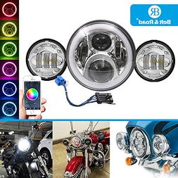 Belt&Road 7 Inch RGB Halo LED Headlight and 4.5 inch Chrome