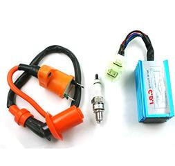 Amhousejoy CDI Ignition Coil Performance for 50cc 60cc 66cc 80cc Engines ATV Quad Go Kart Moped Scooter Motor Motorized Bicycle Bike