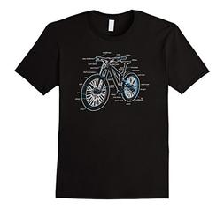 Mens Bike Diagram Shirt Parts of a Mountain Bike Cyclist Tee