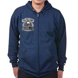 Royal Lion Zip Hoodie  Lucky 7 Bikes Live To Ride Skull - Na