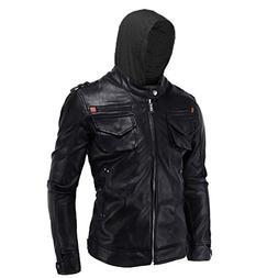 SID Mens Black Hoodie Lambskin Leather Jacket,Biker Jacket w