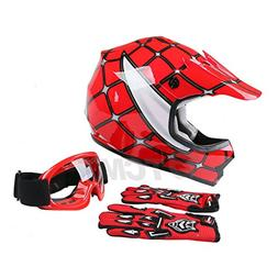 TCMT Dot Youth & Kids Motocross Offroad Street Helmet Red Sp
