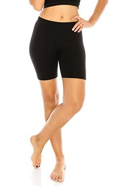 The Classic Women's Stretch Cotton Jersey Bike Shorts in Bla