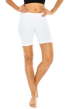 The Classic Women's Stretch Cotton Jersey Bike Shorts in Whi