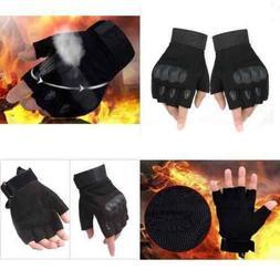Adjustable Men's Tactical Gloves Army Knuckles Black Hard Kn