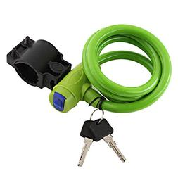 Bike Cable Lock With Mounting Bracket And Keys, Bicycle Mang