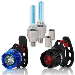 Bike Light Front and Rear Aluminum LED Bike Light Set 2 Valv