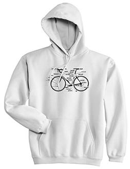 Bike Parts Cycling Pullover Hoodie Hoody XX-Large White