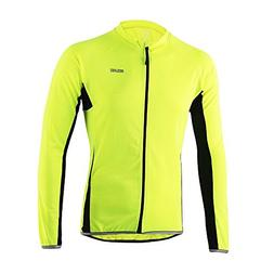 Men's Breathable Long Sleeves Cycling Jersey Fluorescent Gre