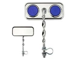 Chrome Flat Twisted Mirror with BLUE  Reflectors, Lowrider B