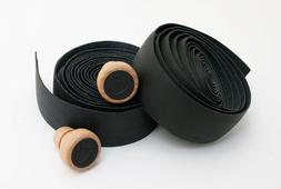 Cardiff Genuine Leather Bar Tape Wooden Plugs Bike Handlebar