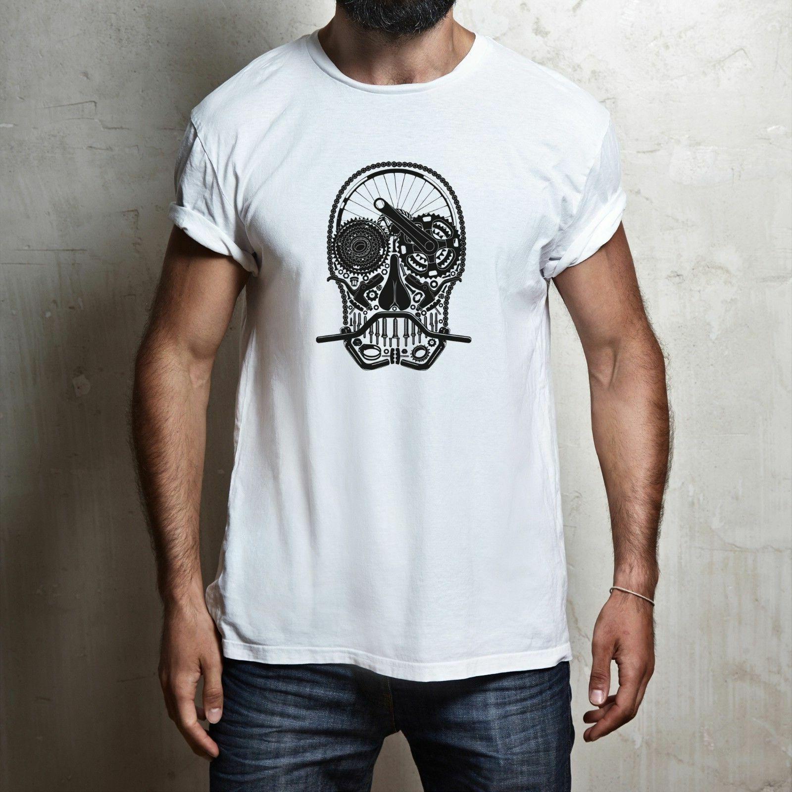MOUNTAIN BIKE PARTS SKULL 100% cotton T-shirt TEE