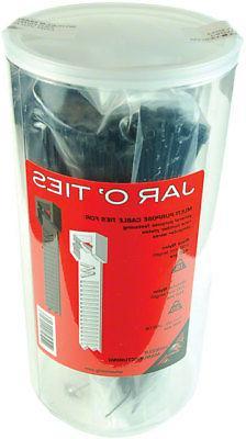 Wheels Manufacturing Zip Ties, 200mm Black/Clear Jar/600