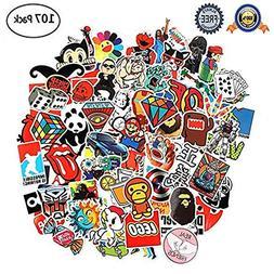 Random Stickers Pack, Vinyl Laptop Stickers 107 Pcs Variety