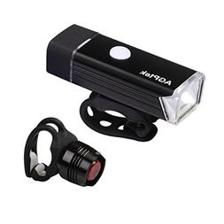 AGPTEK LC01 Rechargeable Bike Light Set-Ultra Bright Front L