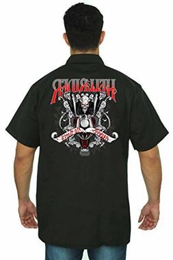 SHORE TRENDZ Men's Mechanic Work Shirt Hellrider Black