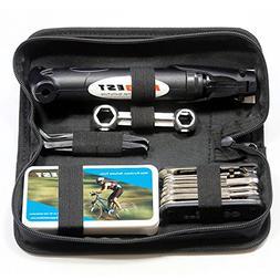 Mini Bike Pump & Tire Puncture Repair Kit & Multi-Function B
