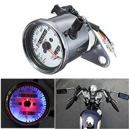 CoCocina Motorcycle Dual Odometer Speedometer Gauge LED Back