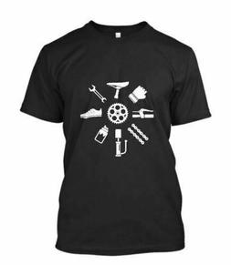 NEW BICYCLE PARTS STRUCTURE BIKE MEN'S BLACK T-SHIRT SIZE S