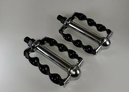 NEW! Black and Chrome Flat Twisted PEDALS 1/2 inch, Lowrider