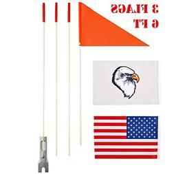 szlzhsm Safety Flag Six foot Heavy Duty fiberglass pole Poly