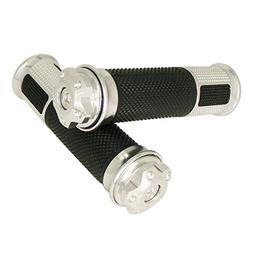 "Silver 2 X 7/8"" Motorcycle Universal CNC Aluminum & Soft Rub"