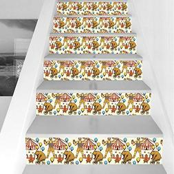Stair Stickers Wall Stickers,6 PCS Self-Adhesive,Circus Deco
