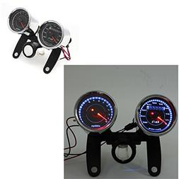 DLLL Universal Motorcycle LED 12V Dual Odometer Speedometer