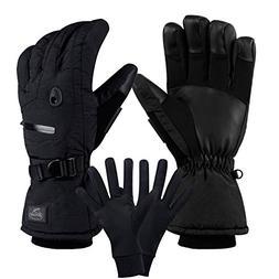 CAMYOD Men Waterproof Skiing Snowboarding Gloves with Zipper