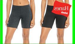 "Hanes Women's Stretch Shorts Jersey Workout Bike 7"" inseam E"